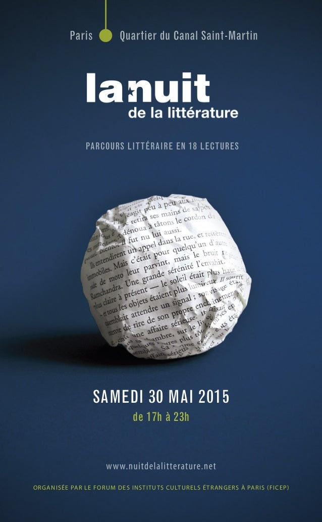 ORGANISÉE PAR LE FORUM DES INSTITUTS CULTURELS ÉTRANGERS À PARIS (FICEP) SAMEDI 30 MAI 2015 de 17h à 23h