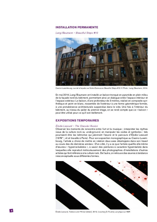 8 INSTALLATION PERMANENTE Lang/Baumann – Beautiful Steps #10 Casino Luxembourg, vue de la façade rue Notre-Dame avec Bea...