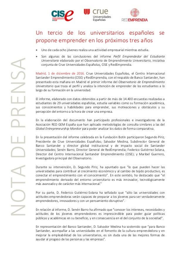 NOTADEPRENSA Un tercio de los universitarios españoles se propone emprender en los próximos tres años • Uno de cada ocho j...