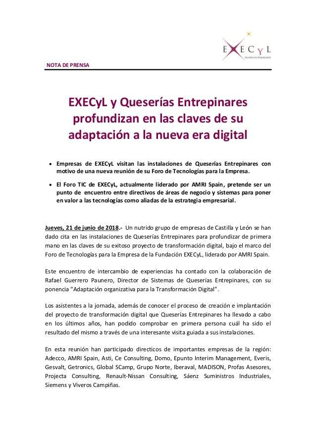 NOTA DE PRENSA EXECyL y Queserías Entrepinares profundizan en las claves de su adaptación a la nueva era digital  Empresa...