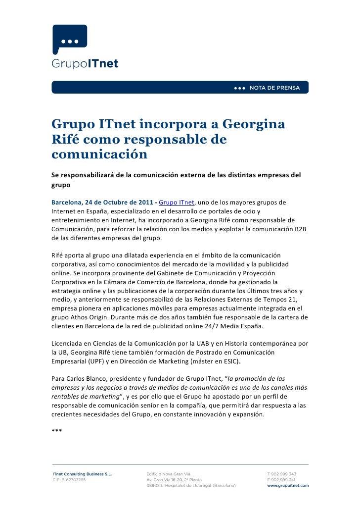 Ndp Grupo ITnet incorpora a Georgina Rife como responsable de comunicacion