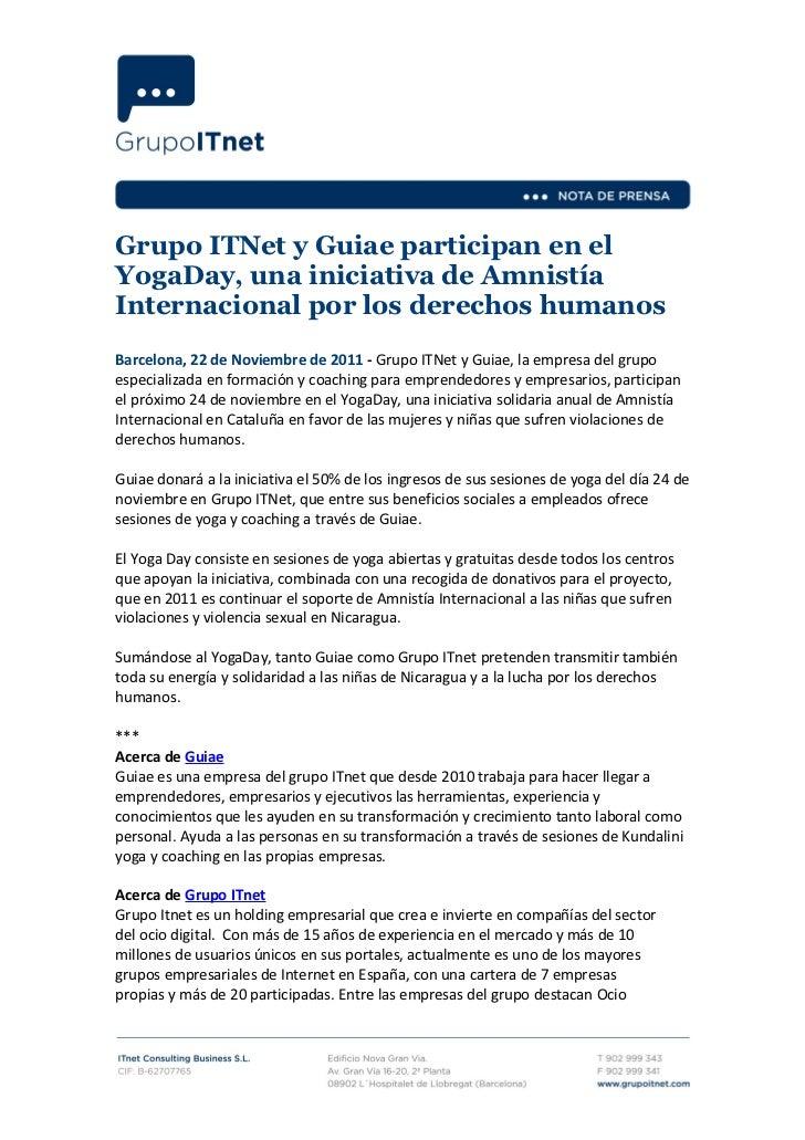 Ndp  Grupo ITnet y Guiae participan en el YogaDay, una iniciativa de Amnistía Internacional por los derechos humanos