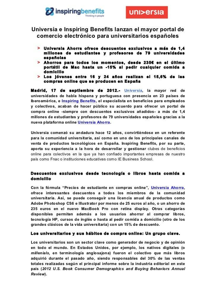 Universia e Inspiring Benefits lanzan el mayor portal de   comercio electrónico para universitarios españoles       > U...