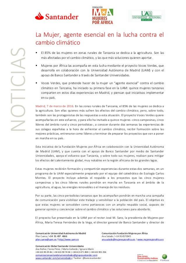 Comunicación Universidad Autónoma de Madrid Comunicación Fundación Mujeres por África Pilar Cuena / +34 91 497 4666 Ana Sa...