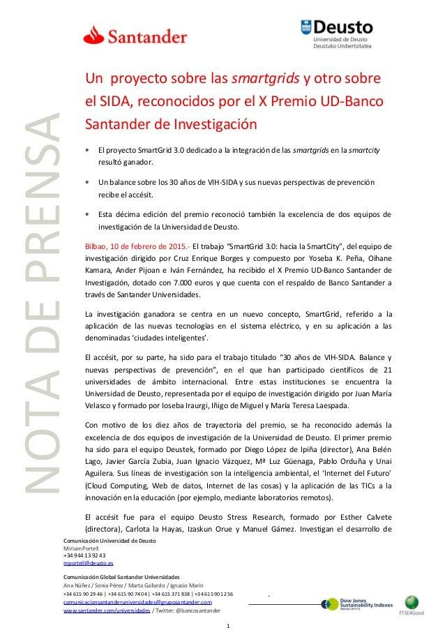 Un proyecto sobre las smartgrids y otro sobre el SIDA, reconocidos por el X Premio UD-Banco Santander de Investigación • E...