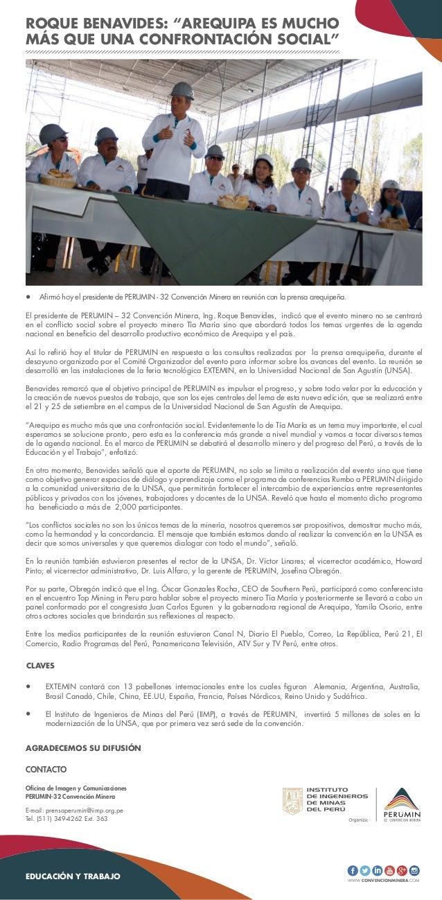"""WWW.CONVENCIONMINERA.COM ROQUE BENAVIDES: """"AREQUIPA ES MUCHO MÁS QUE UNA CONFRONTACIÓN SOCIAL"""" EXTEMIN contará con 13 pabe..."""