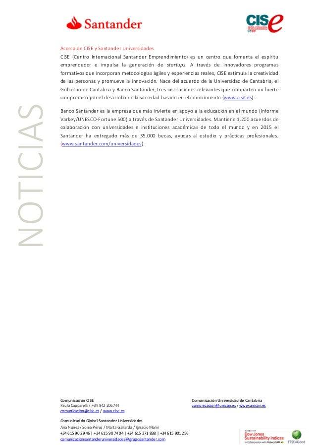 CISE, Workshop Emprendimiento, Universidad de Cantabria, UC, Banco Santander, Santander Universidades  Slide 2