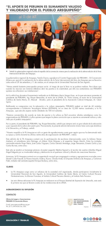 WWW.CONVENCIONMINERA.COM AGRADECEMOS SU DIFUSIÓN EDUCACIÓN Y TRABAJO Oficina de Imagen y Comunicaciones PERUMIN-32 Convenc...