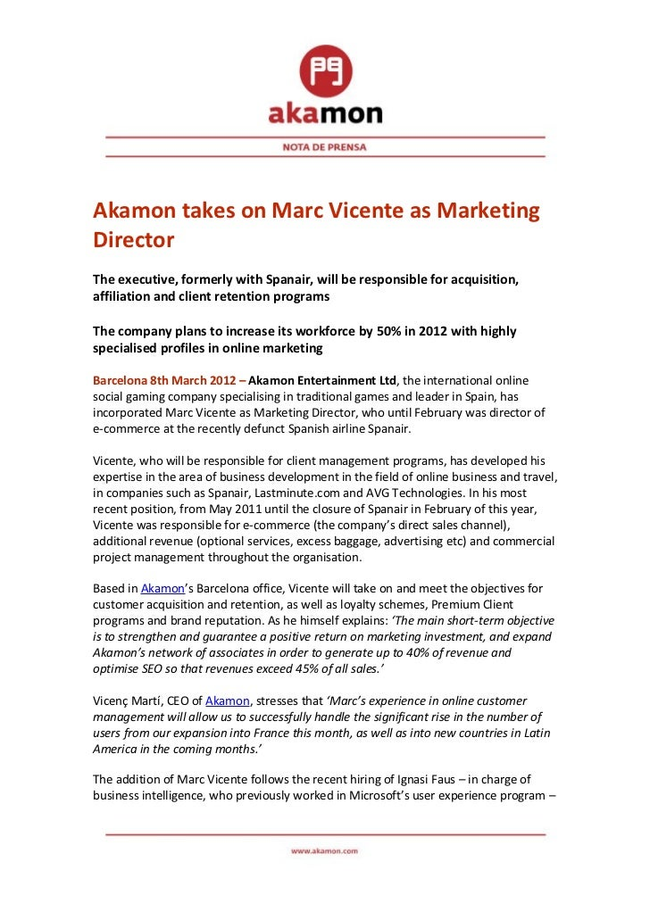 Akamon takes on Marc Vicente as MarketingDirectorThe executive, formerly with Spanair, will be responsible for acquisition...
