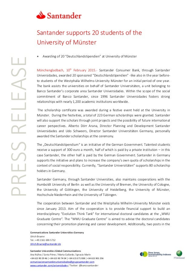 PRESSRELEASE Communications Santander Universities Germany Ulrich Bruene Tel.: +49 2161 690-5712 Ulrich.Bruene@santander.d...
