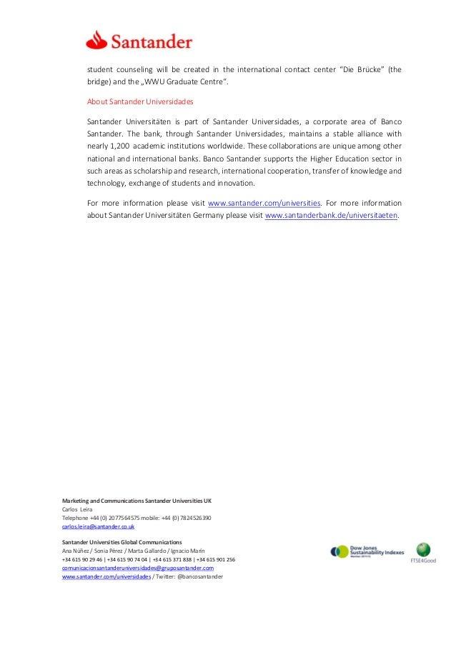 Santander supports 20 students of the University of Münster Slide 2