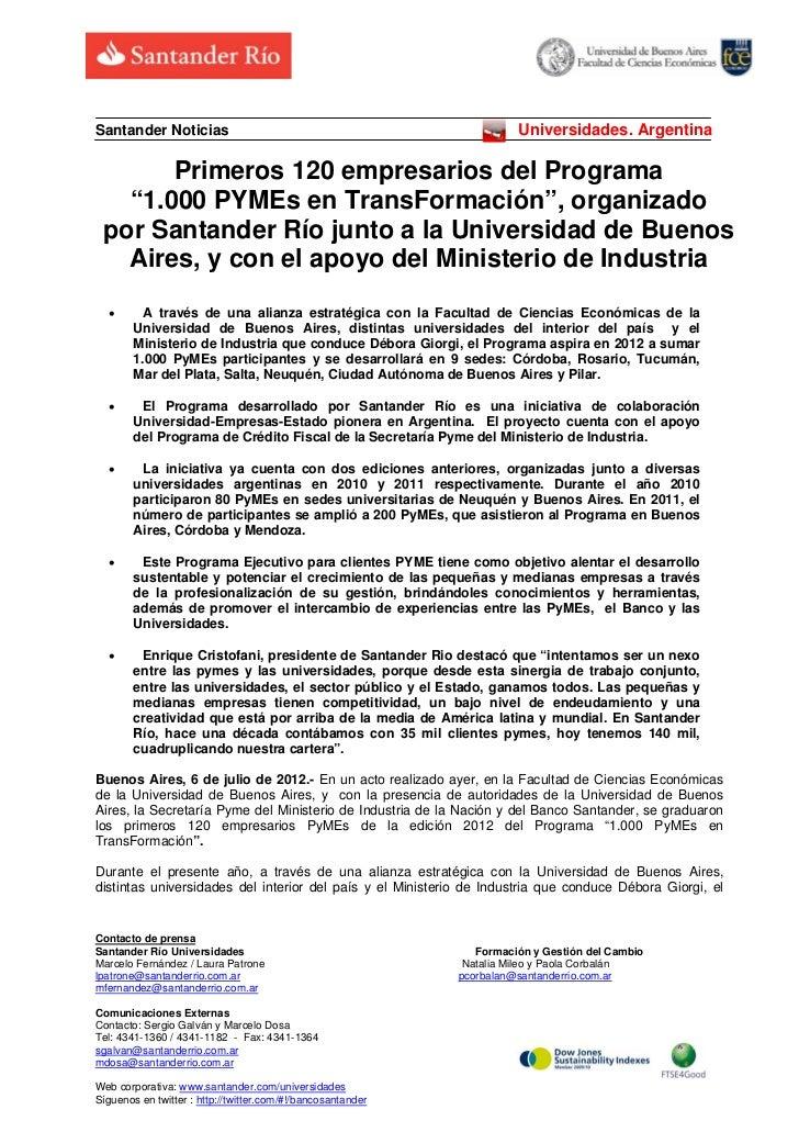 Santander Noticias                                                     Universidades. Argentina       Primeros 120 empresa...