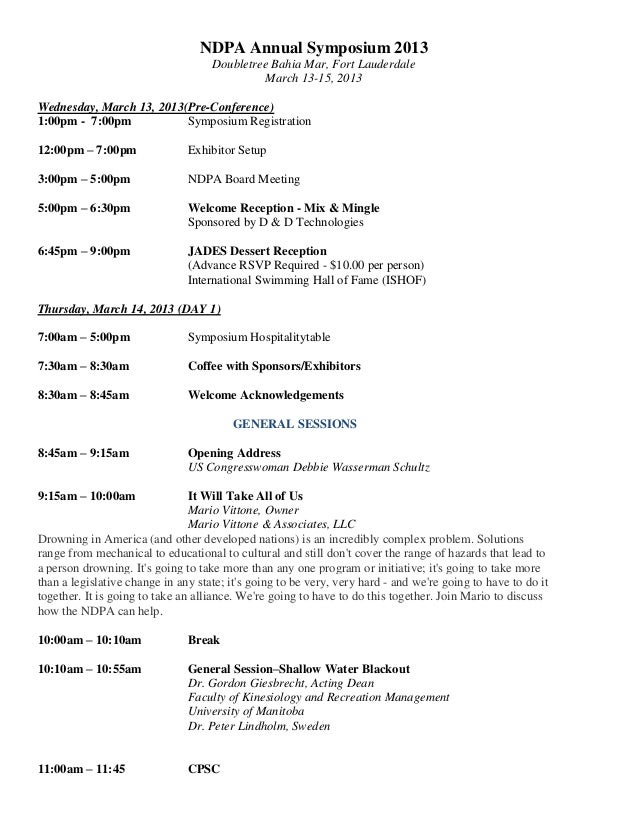 NDPA Annual Symposium 2013 Doubletree Bahia Mar, Fort Lauderdale March 13-15, 2013 Wednesday, March 13, 2013(Pre-Conferenc...