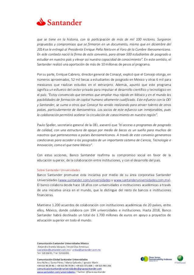 Nuevo programa de Becas Conacyt-Santander-OEI, dotado con 10 millones de pesos para becas de movilidad Slide 2