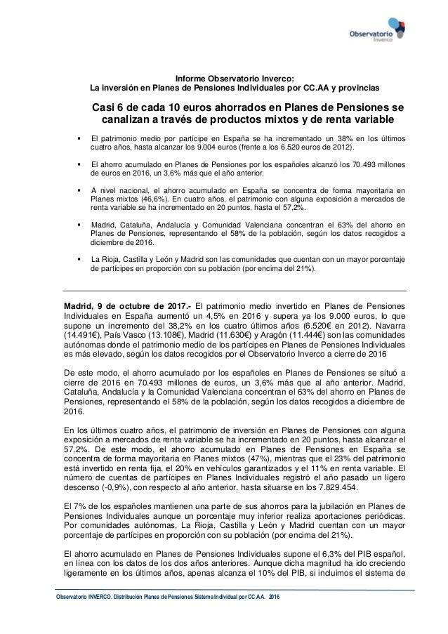 Observatorio INVERCO. Distribución Planes de Pensiones Sistema Individual por CC.AA. 2016 Informe Observatorio Inverco: La...