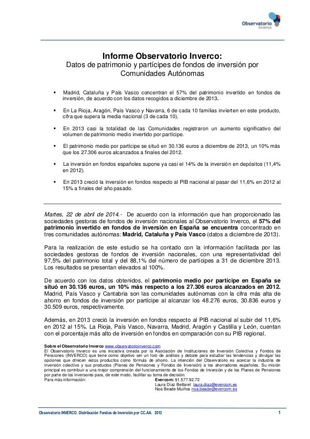 Observatorio INVERCO. Distribución Fondos de Inversión por CC.AA. 2013 1 Informe Observatorio Inverco: Datos de patrimonio...