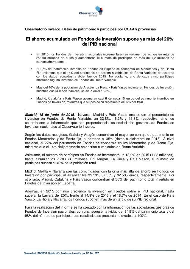 Observatorio INVERCO. Distribución Fondos de Inversión por CC.AA. 2015 Observatorio Inverco. Datos de patrimonio y partíci...