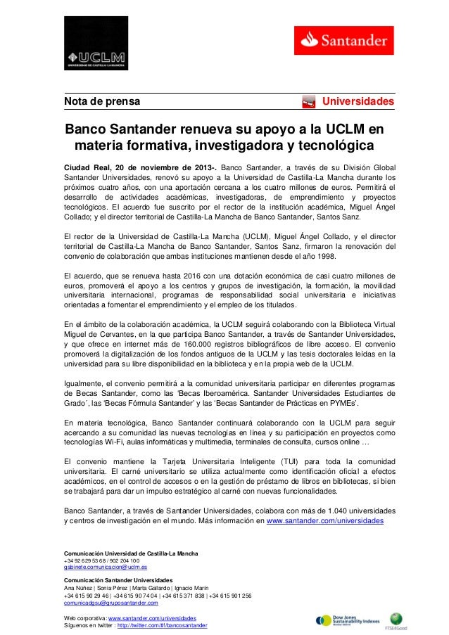 Nota de prensa  Universidades  Banco Santander renueva su apoyo a la UCLM en materia formativa, investigadora y tecnológic...