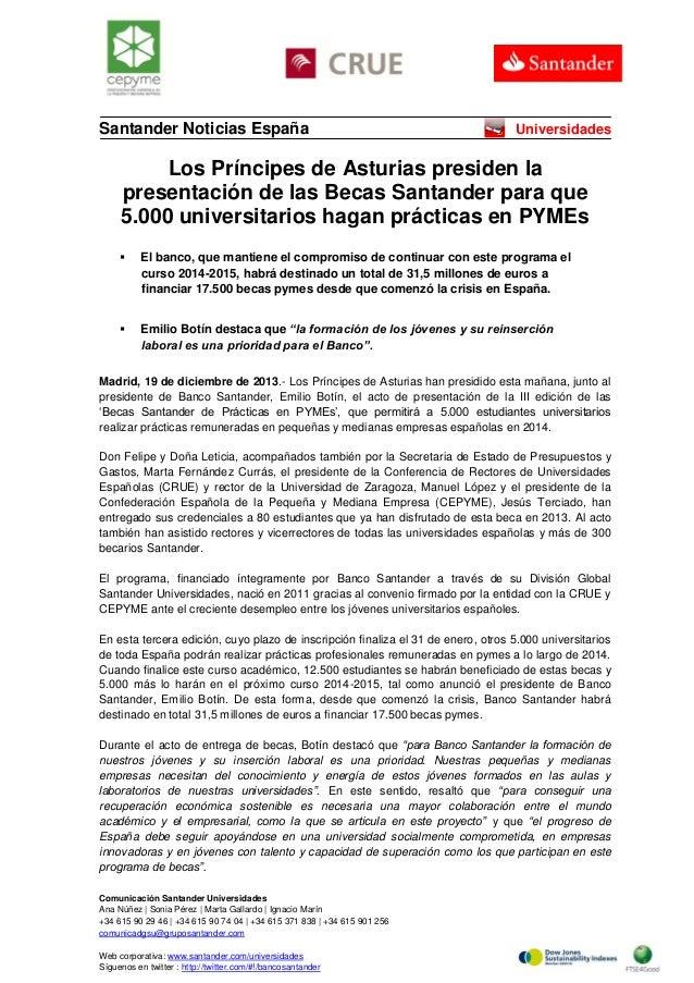 Santander Noticias España  Universidades  Los Príncipes de Asturias presiden la presentación de las Becas Santander para q...