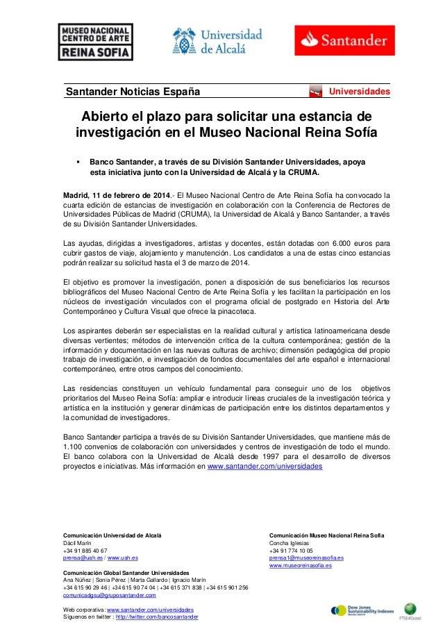 Santander Noticias España  Universidades  Abierto el plazo para solicitar una estancia de investigación en el Museo Nacion...