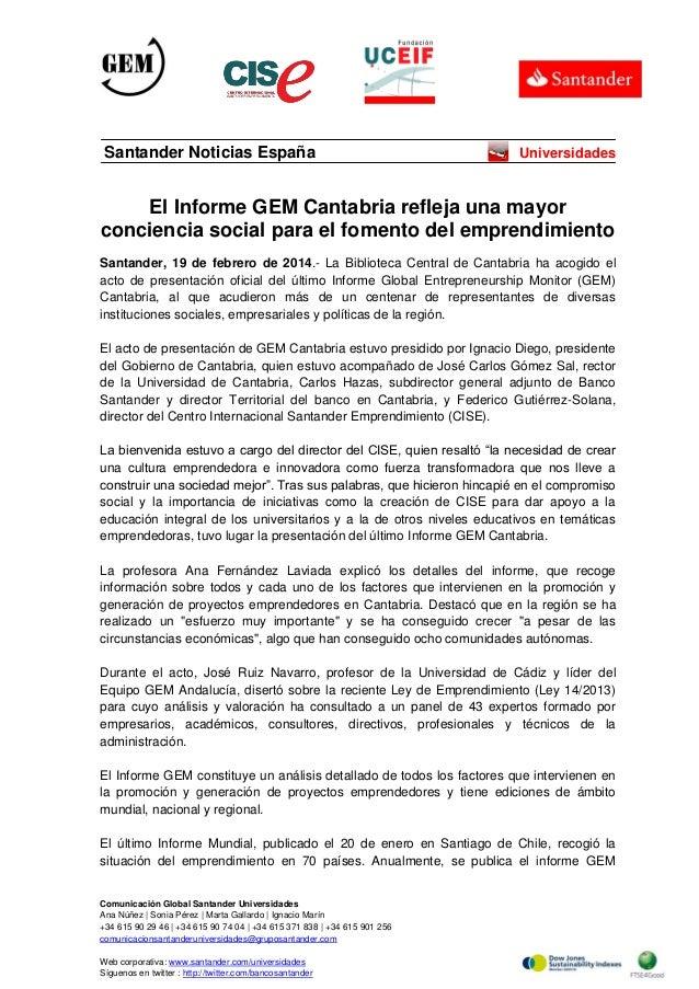 Santander Noticias España  Universidades  El Informe GEM Cantabria refleja una mayor conciencia social para el fomento del...