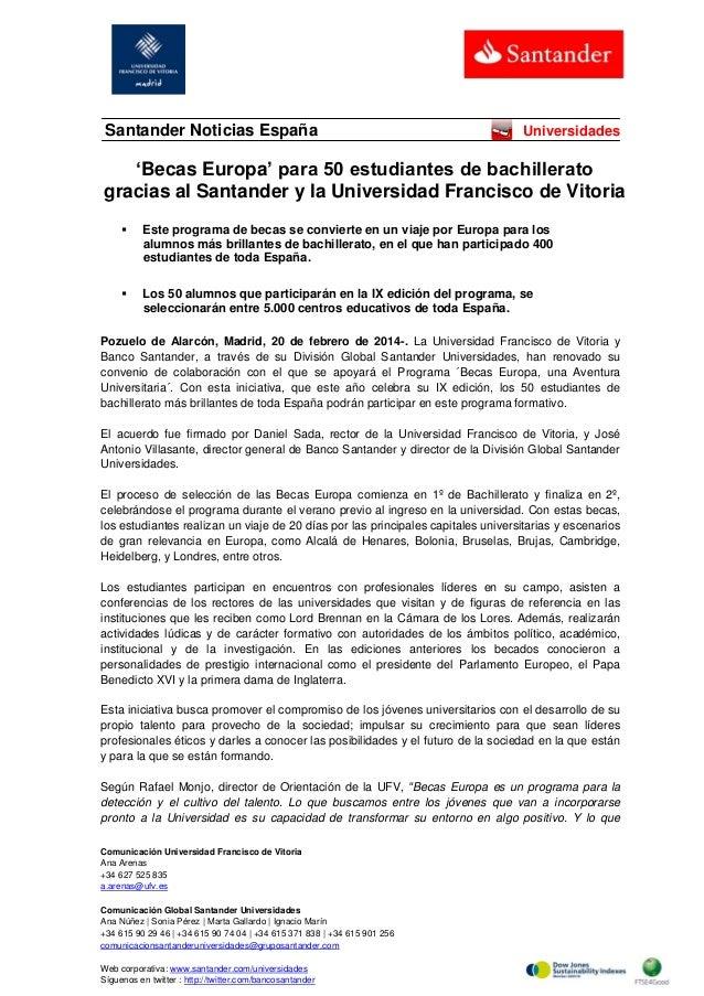 Santander Noticias España  Universidades  'Becas Europa' para 50 estudiantes de bachillerato gracias al Santander y la Uni...