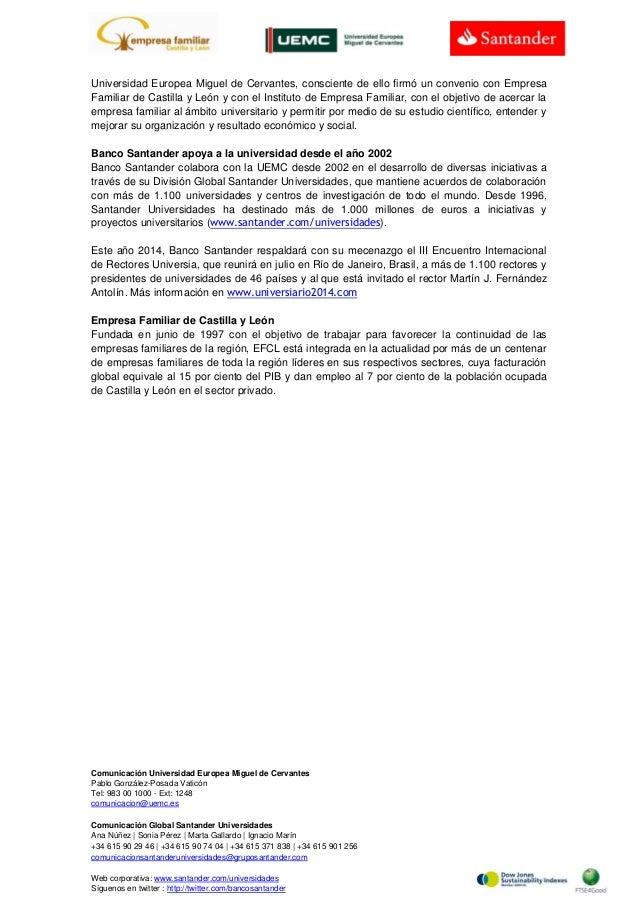Banco Santander se suma a la actividad de la Cátedra de Empresa Familiar UEMC Slide 2
