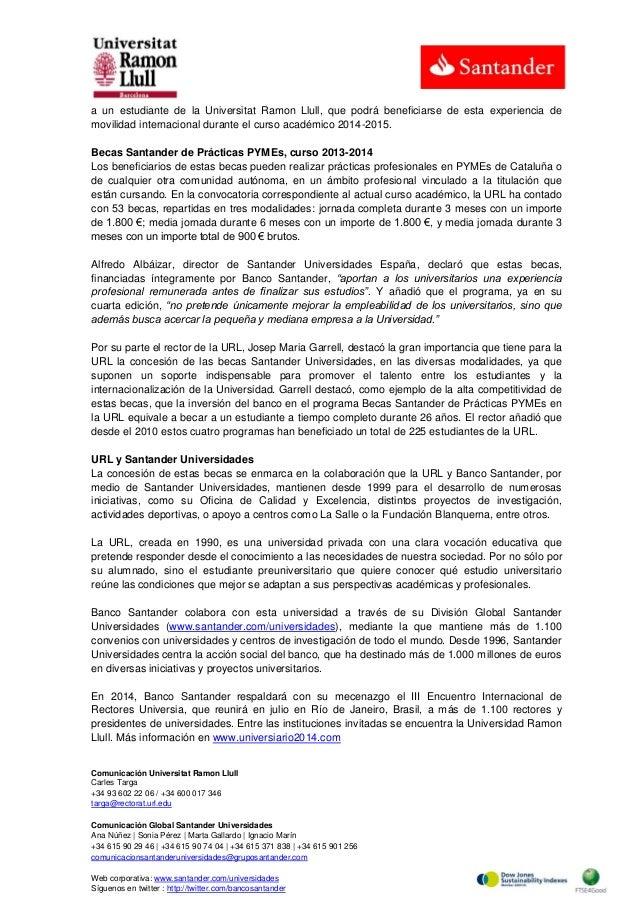 Banco Santander entrega 98 becas a estudiantes de la Universidad Ramón Llull Slide 2