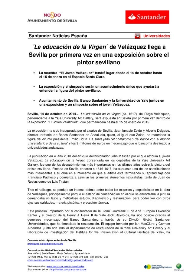 Comunicación Ayuntamiento de Sevilla  prensazoido.alcaldia@sevilla.org  Comunicación Global Santander Universidades  Ana N...