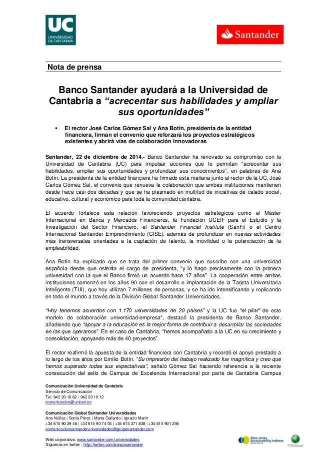 Comunicación Universidad de Cantabria Servicio de Comunicación Tel. 942 20 10 62 / 942 20 10 12 comunicacion@unican.es Com...