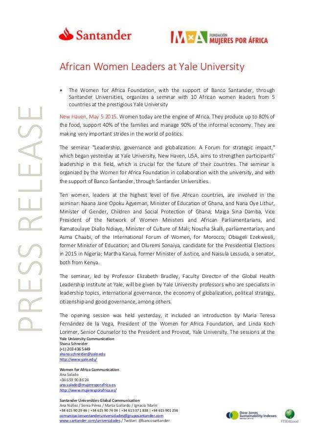 Yale University Communication Shana Schneider (+1) 203 436 5449 shana.schneider@yale.edu http://www.yale.edu/ Women for Af...