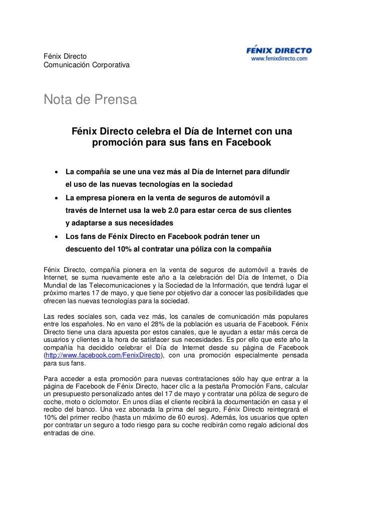 Fénix DirectoComunicación CorporativaNota de Prensa         Fénix Directo celebra el Día de Internet con una             p...