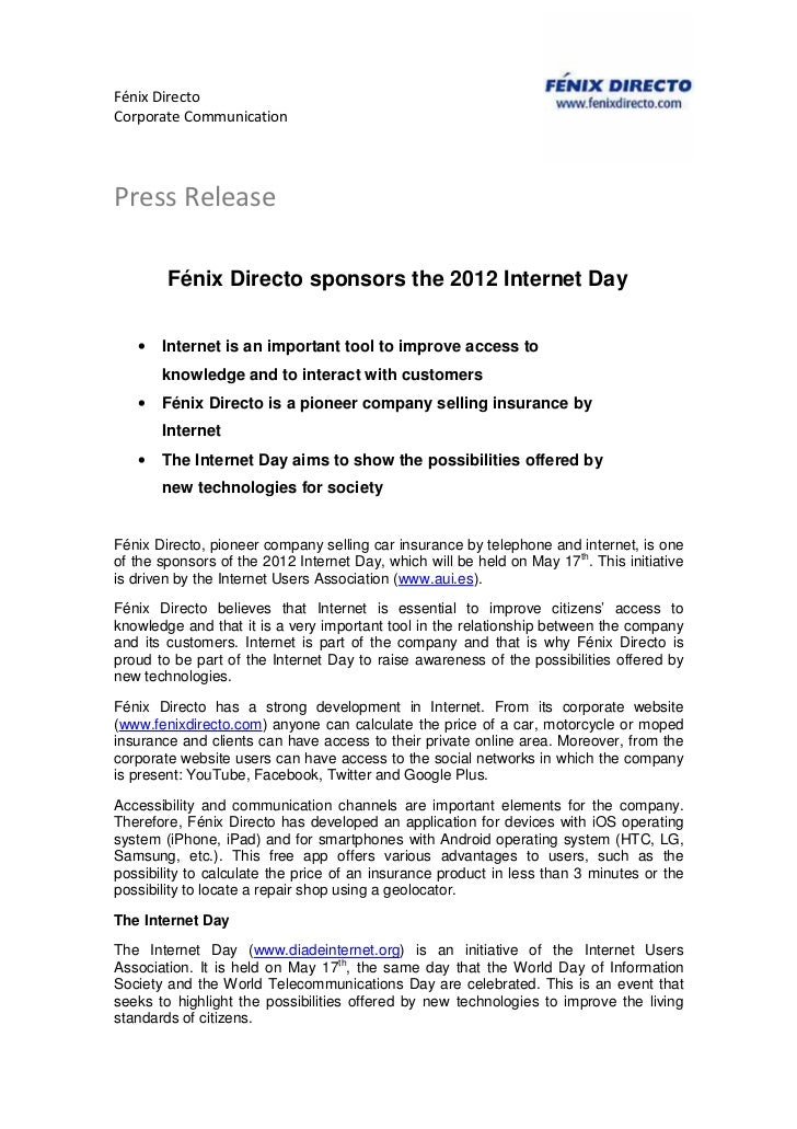 Fénix DirectoCorporate CommunicationPress Release        Fénix Directo sponsors the 2012 Internet Day   •   Internet is an...