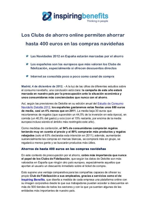 Los Clubs de ahorro online permiten ahorrar   hasta 400 euros en las compras navideñas       Las Navidades 2012 en España...