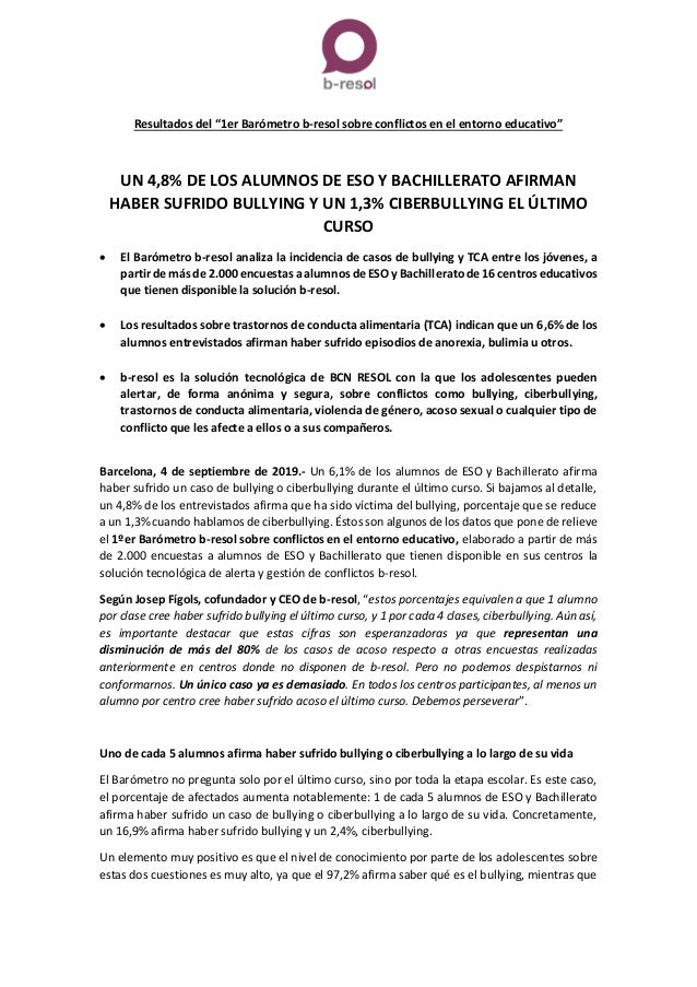 """Resultados del """"1er Barómetro b-resol sobre conflictos en el entorno educativo"""" UN 4,8% DE LOS ALUMNOS DE ESO Y BACHILLERA..."""