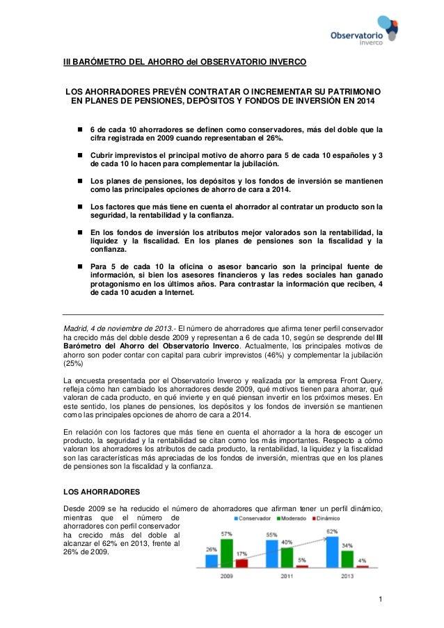 III BARÓMETRO DEL AHORRO del OBSERVATORIO INVERCO  LOS AHORRADORES PREVÉN CONTRATAR O INCREMENTAR SU PATRIMONIO EN PLANES ...
