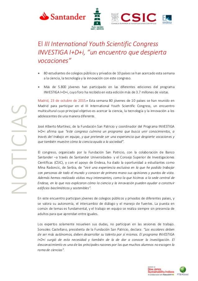 """NOTICIAS El III International Youth Scientific Congress INVESTIGA I+D+i, """"un encuentro que despierta vocaciones"""" • 80 estu..."""