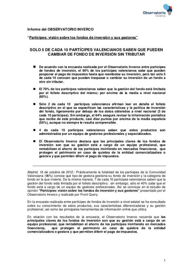 """Informe del OBSERVATORIO INVERCO""""Partícipes: visión sobre los fondos de inversión y sus gestores"""" SOLO 5 DE CADA 10 PARTÍC..."""