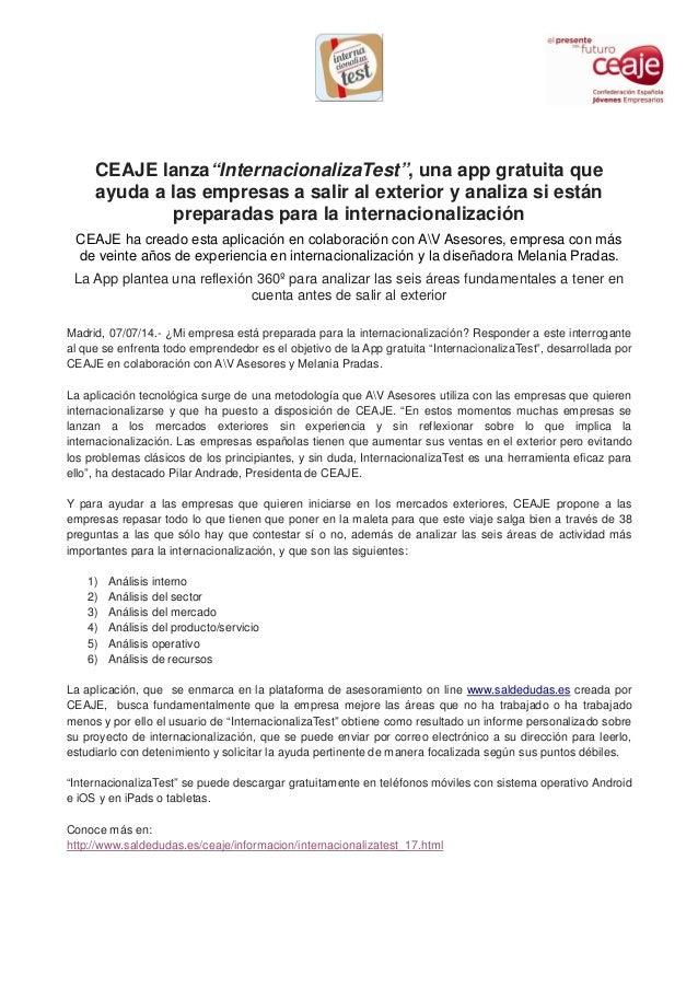 """CEAJE lanza""""InternacionalizaTest"""", una app gratuita que ayuda a las empresas a salir al exterior y analiza si están prepar..."""