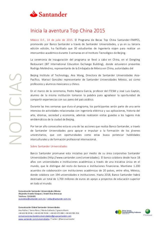 NOTICIAS Comunicación Santander Universidades México Alejandra Aranda Vázquez / Anaid Díaz Amezcua Teléfono: 52616691 caar...