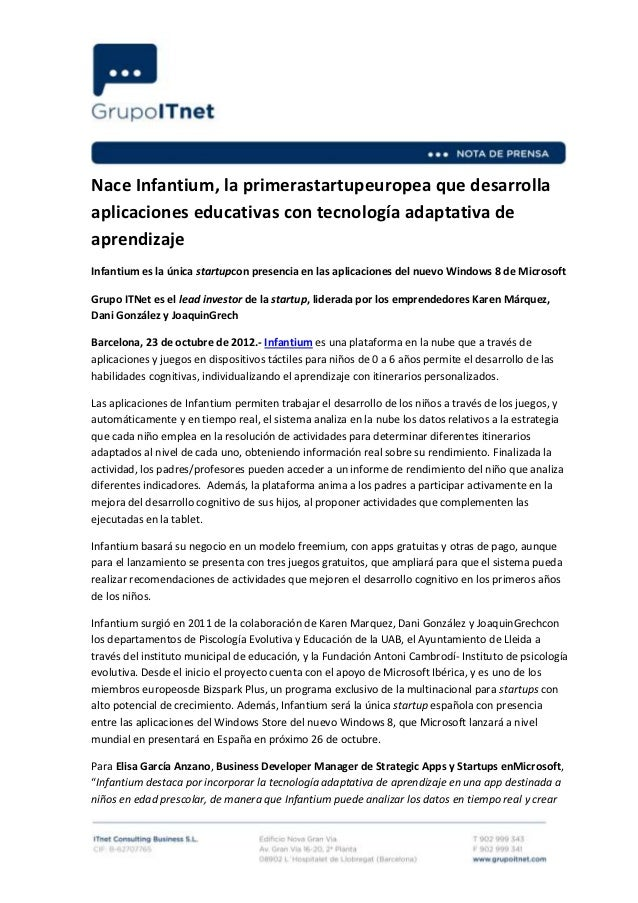 Nace Infantium, la primerastartupeuropea que desarrollaaplicaciones educativas con tecnología adaptativa deaprendizajeInfa...
