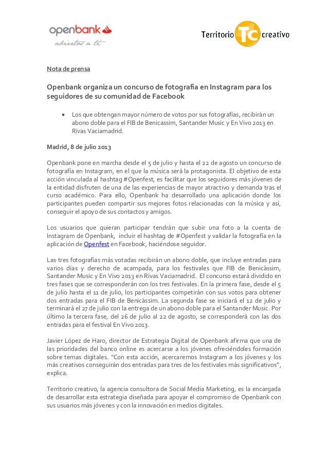 Nota de prensa Openbank organiza un concurso de fotografía en Instagram para los seguidores de su comunidad de Facebook  ...