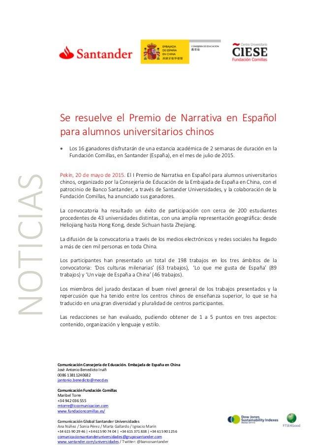 Se resuelve el Premio de Narrativa en Español para alumnos universitarios chinos • Los 16 ganadores disfrutarán de una est...
