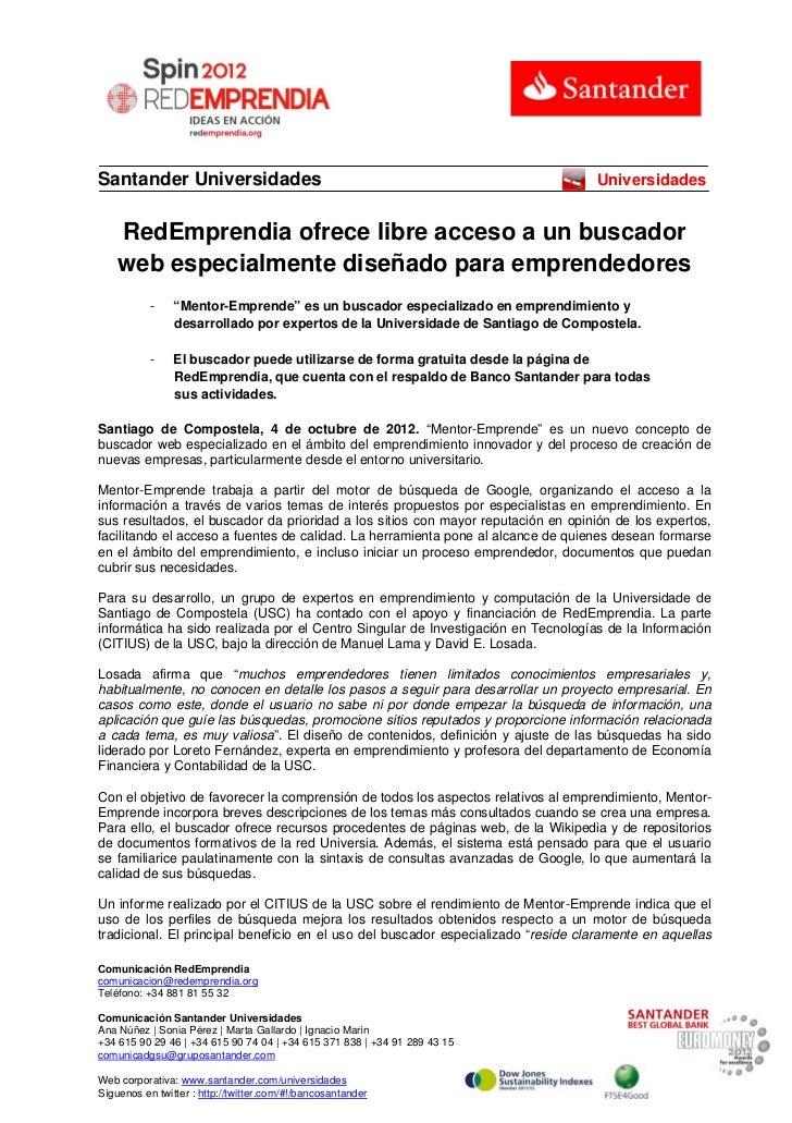 Santander Universidades                                                            Universidades    RedEmprendia ofrece li...