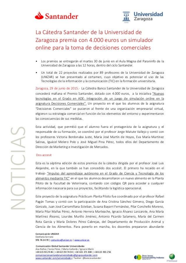 La Cátedra Santander de la Universidad de Zaragoza premia con 4.000 euros un simulador online para la toma de decisiones c...