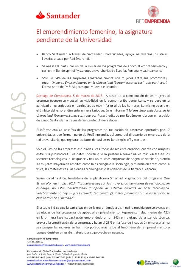 NOTICIAS El emprendimiento femenino, la asignatura pendiente de la Universidad • Banco Santander, a través de Santander Un...