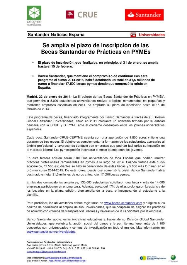 Santander Noticias España  Universidades  Se amplía el plazo de inscripción de las Becas Santander de Prácticas en PYMEs ...
