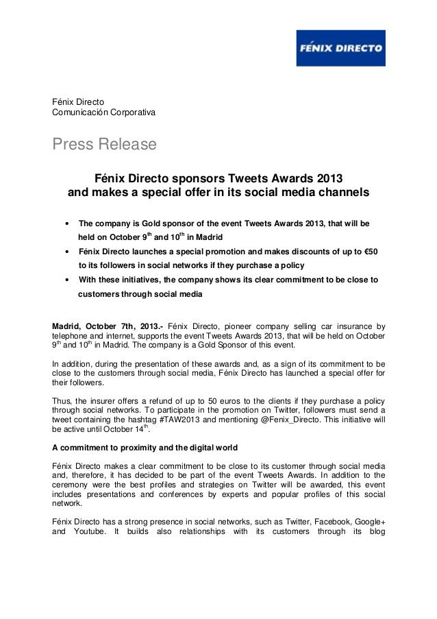 Fénix Directo Comunicación Corporativa Press Release Fénix Directo sponsors Tweets Awards 2013 and makes a special offer i...