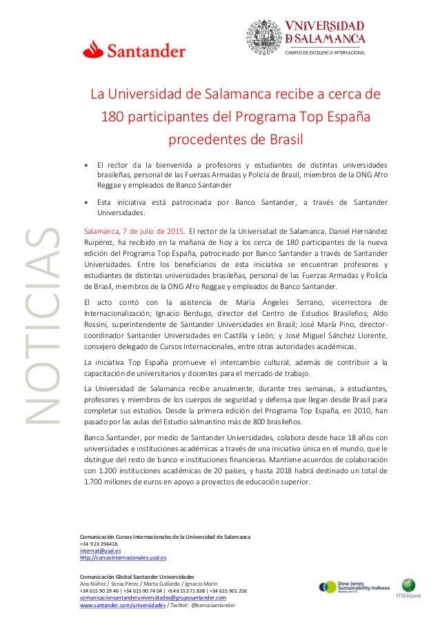 NOTICIAS Comunicación Cursos Internacionales de la Universidad de Salamanca +34 923 294418. internat@usal.es http://cursos...