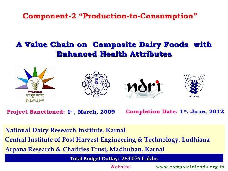 """Component-2 """"Production-to-Consumption""""   A Value Chain on Composite Dairy Foods with            Enhanced Health Attribute..."""